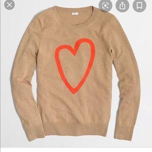J Crew Intarsia Heart Sweater NWT